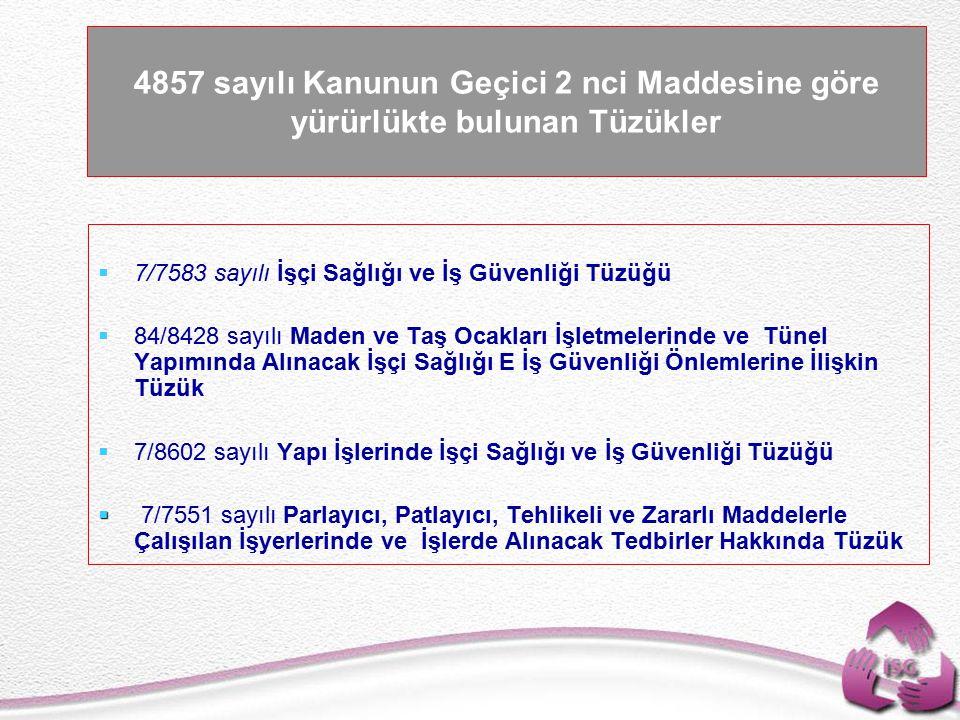 4857 sayılı Kanunun Geçici 2 nci Maddesine göre yürürlükte bulunan Tüzükler