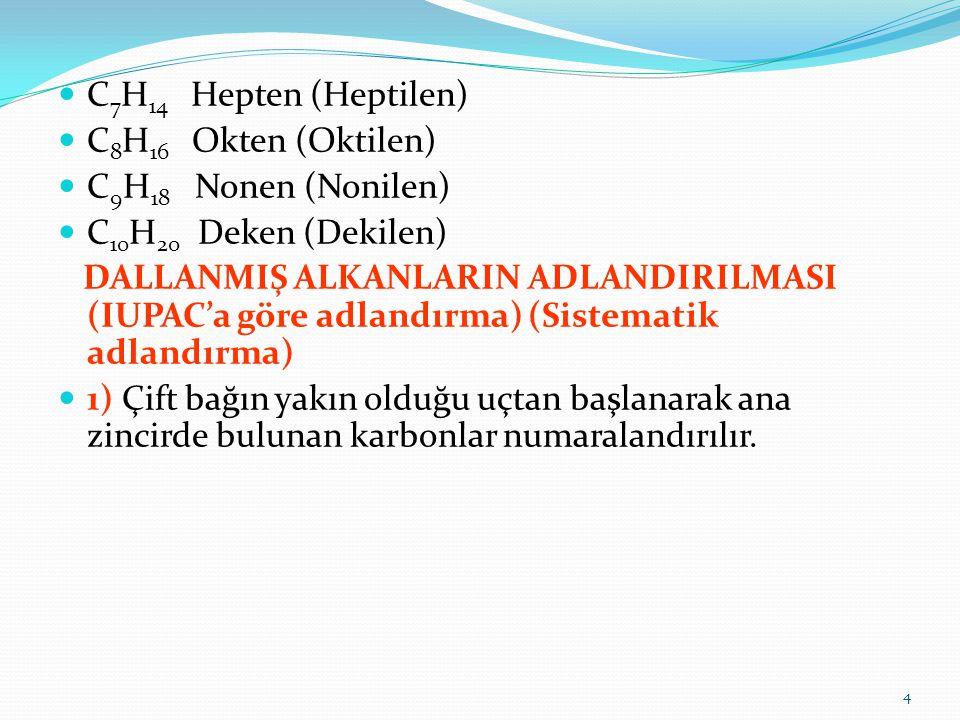 C7H14 Hepten (Heptilen) C8H16 Okten (Oktilen) C9H18 Nonen (Nonilen) C10H20 Deken (Dekilen)