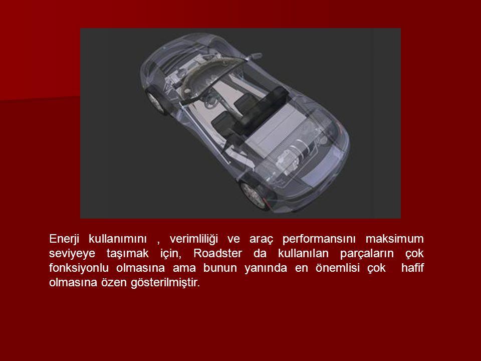 Enerji kullanımını , verimliliği ve araç performansını maksimum seviyeye taşımak için, Roadster da kullanılan parçaların çok fonksiyonlu olmasına ama bunun yanında en önemlisi çok hafif olmasına özen gösterilmiştir.