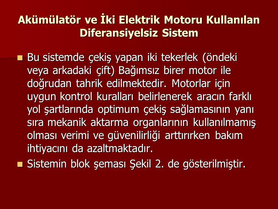 Akümülatör ve İki Elektrik Motoru Kullanılan Diferansiyelsiz Sistem