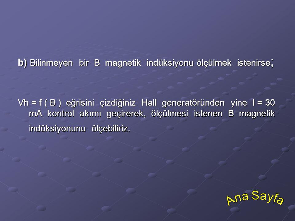 Ana Sayfa b) Bilinmeyen bir B magnetik indüksiyonu ölçülmek istenirse;