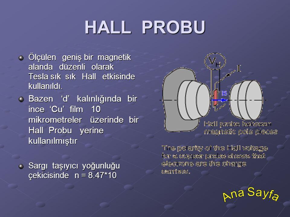 HALL PROBU Ölçülen geniş bir magnetik alanda düzenli olarak Tesla sık sık Hall etkisinde kullanıldı.