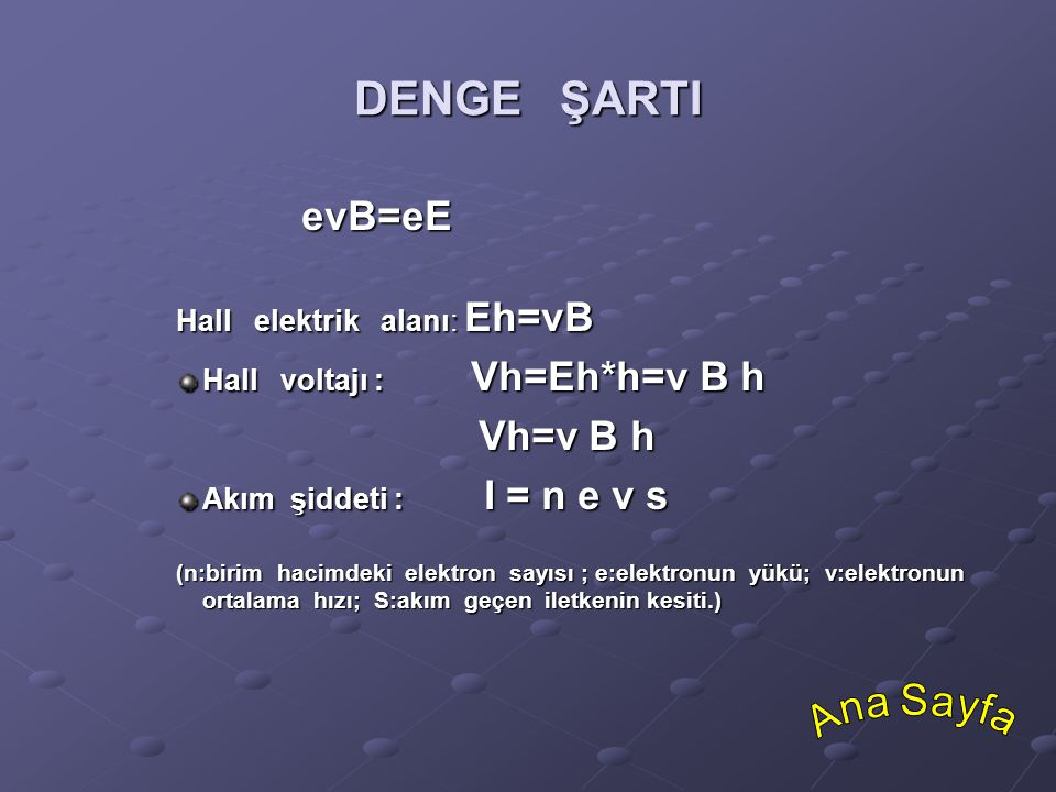 DENGE ŞARTI evB=eE Vh=v B h Ana Sayfa Hall elektrik alanı: Eh=vB