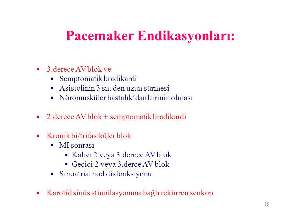 Pacemaker Endikasyonları: