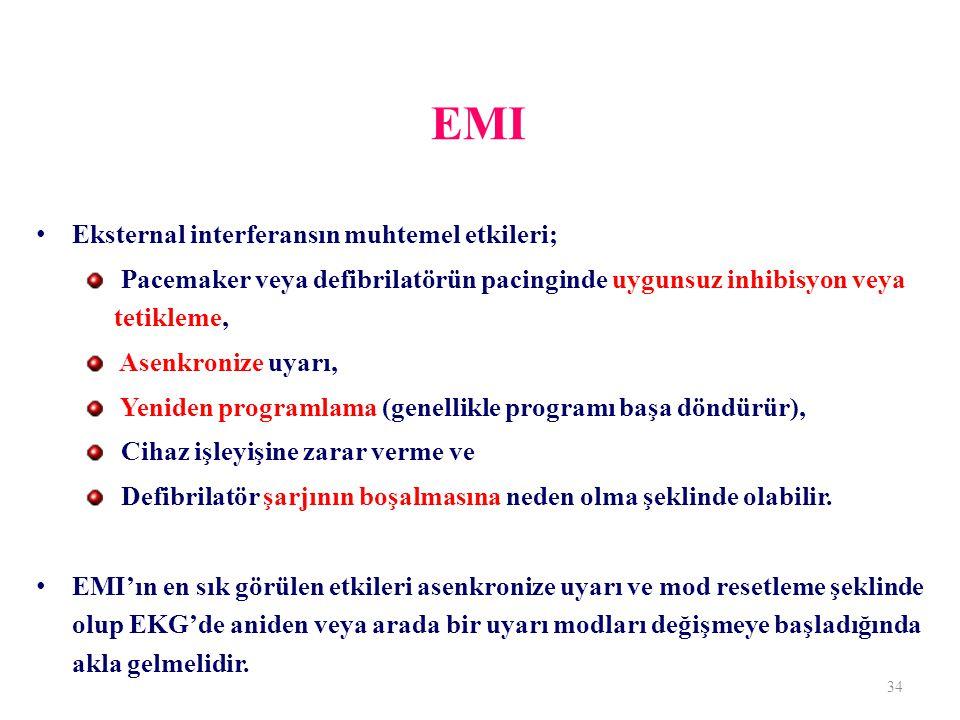EMI Eksternal interferansın muhtemel etkileri;