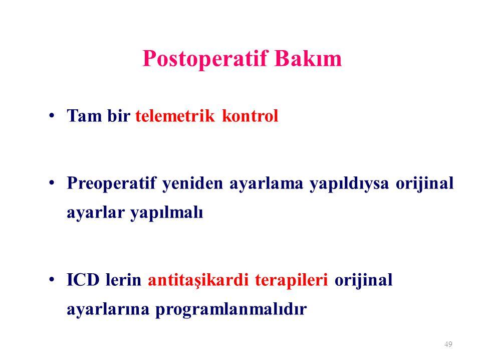 Postoperatif Bakım Tam bir telemetrik kontrol