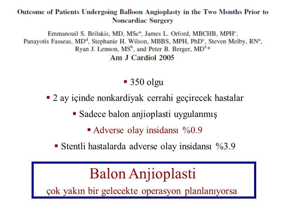 Balon Anjioplasti çok yakın bir gelecekte operasyon planlanıyorsa
