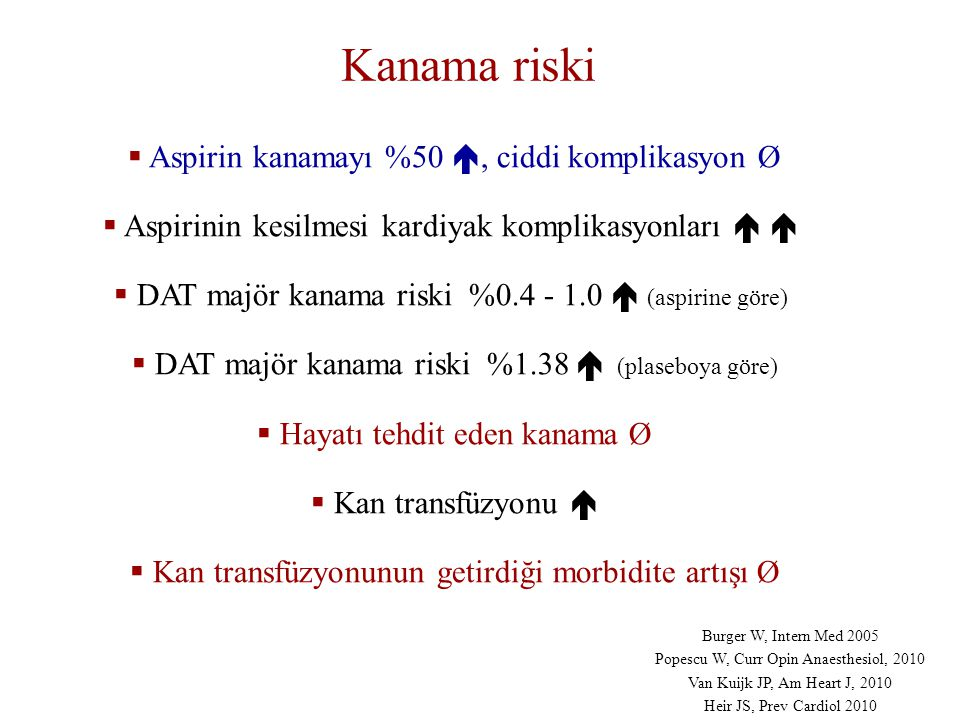 Kanama riski Aspirin kanamayı %50 , ciddi komplikasyon Ø