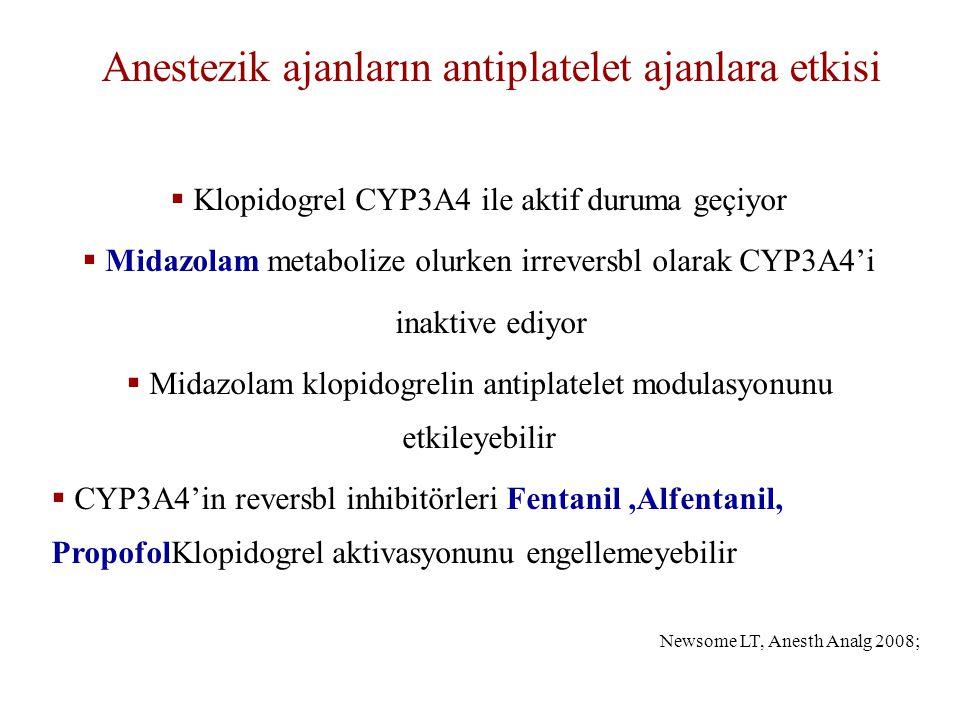 Anestezik ajanların antiplatelet ajanlara etkisi