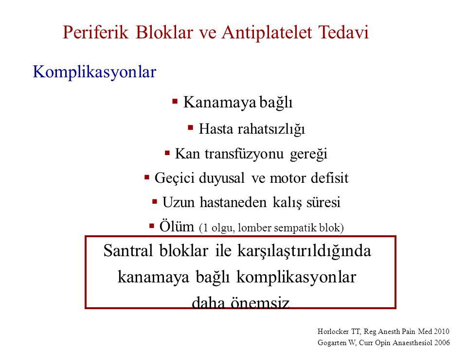 Periferik Bloklar ve Antiplatelet Tedavi