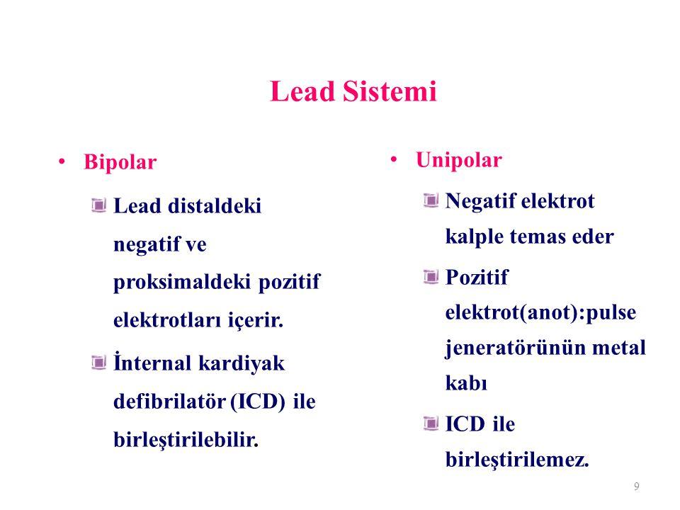 Lead Sistemi Bipolar. Lead distaldeki negatif ve proksimaldeki pozitif elektrotları içerir.