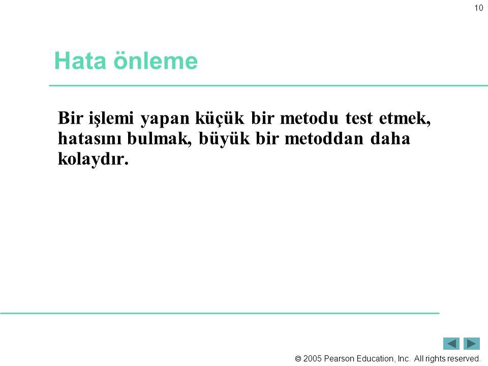 Hata önleme Bir işlemi yapan küçük bir metodu test etmek, hatasını bulmak, büyük bir metoddan daha kolaydır.
