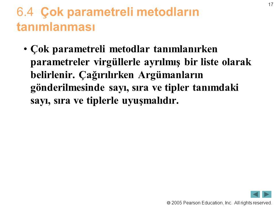 6.4 Çok parametreli metodların tanımlanması