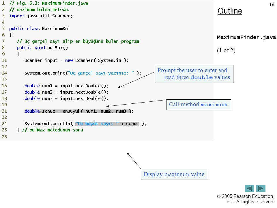 Outline (1 of 2) Prompt the user to enter and read three double values