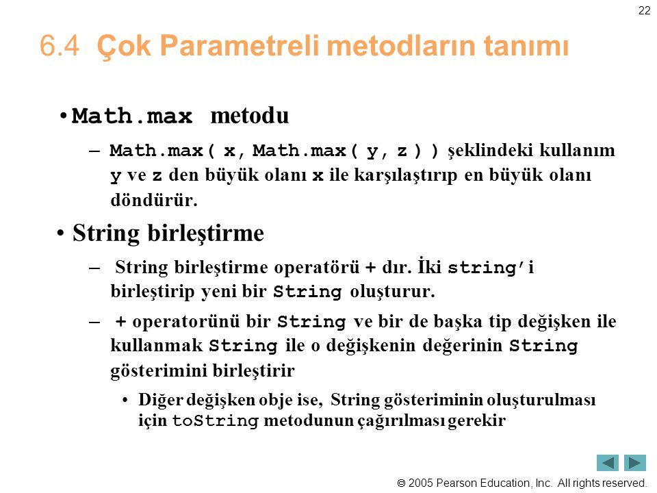 6.4 Çok Parametreli metodların tanımı
