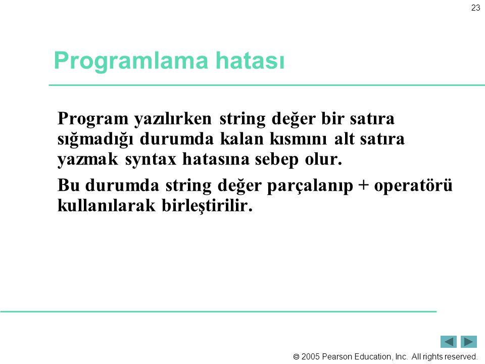 Programlama hatası Program yazılırken string değer bir satıra sığmadığı durumda kalan kısmını alt satıra yazmak syntax hatasına sebep olur.