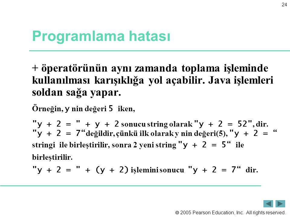 Programlama hatası + öperatörünün aynı zamanda toplama işleminde kullanılması karışıklığa yol açabilir. Java işlemleri soldan sağa yapar.