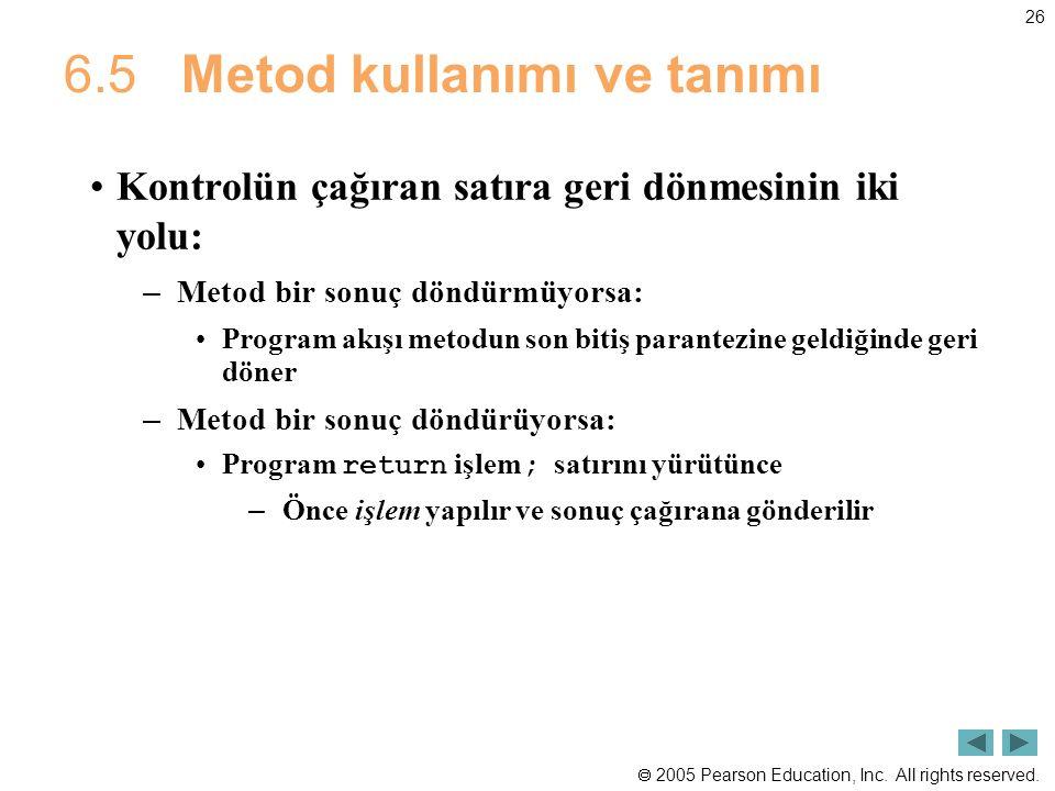 6.5 Metod kullanımı ve tanımı