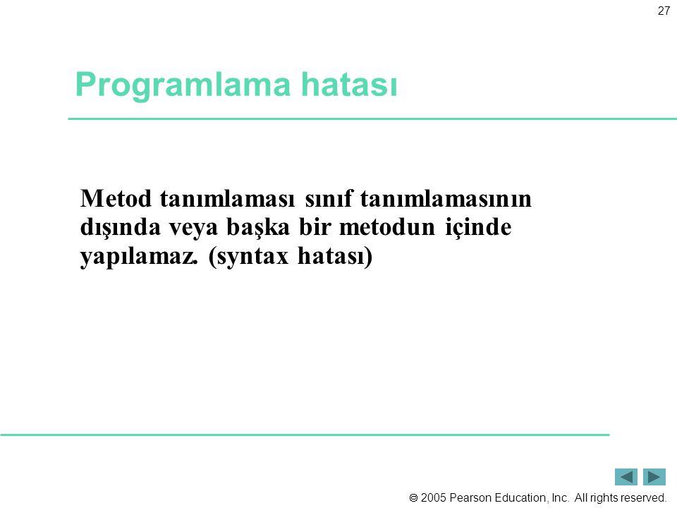 Programlama hatası Metod tanımlaması sınıf tanımlamasının dışında veya başka bir metodun içinde yapılamaz.