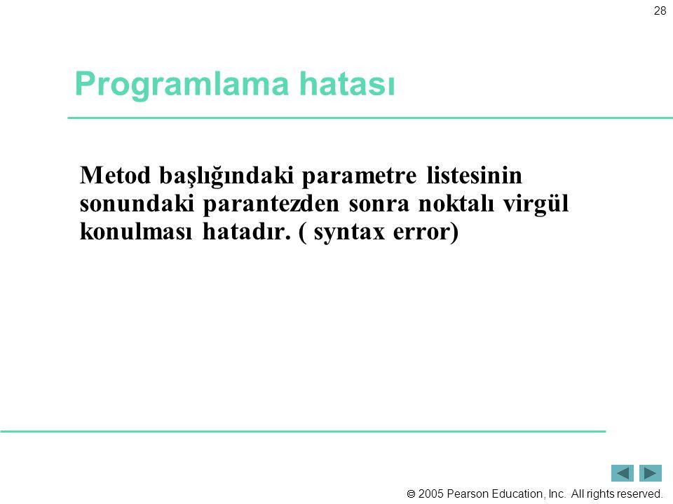 Programlama hatası Metod başlığındaki parametre listesinin sonundaki parantezden sonra noktalı virgül konulması hatadır.