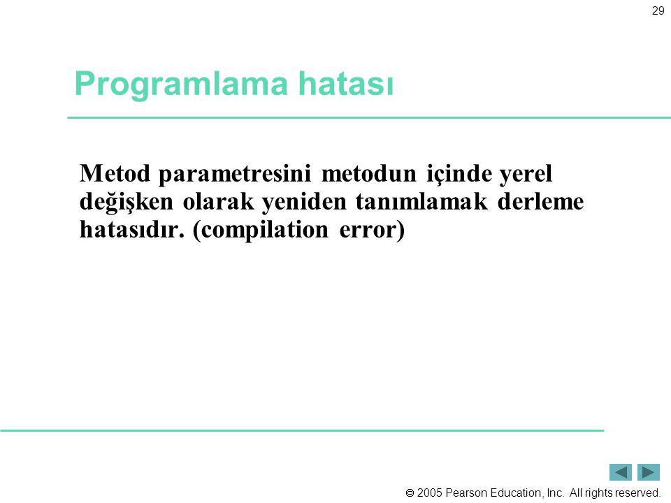 Programlama hatası Metod parametresini metodun içinde yerel değişken olarak yeniden tanımlamak derleme hatasıdır.