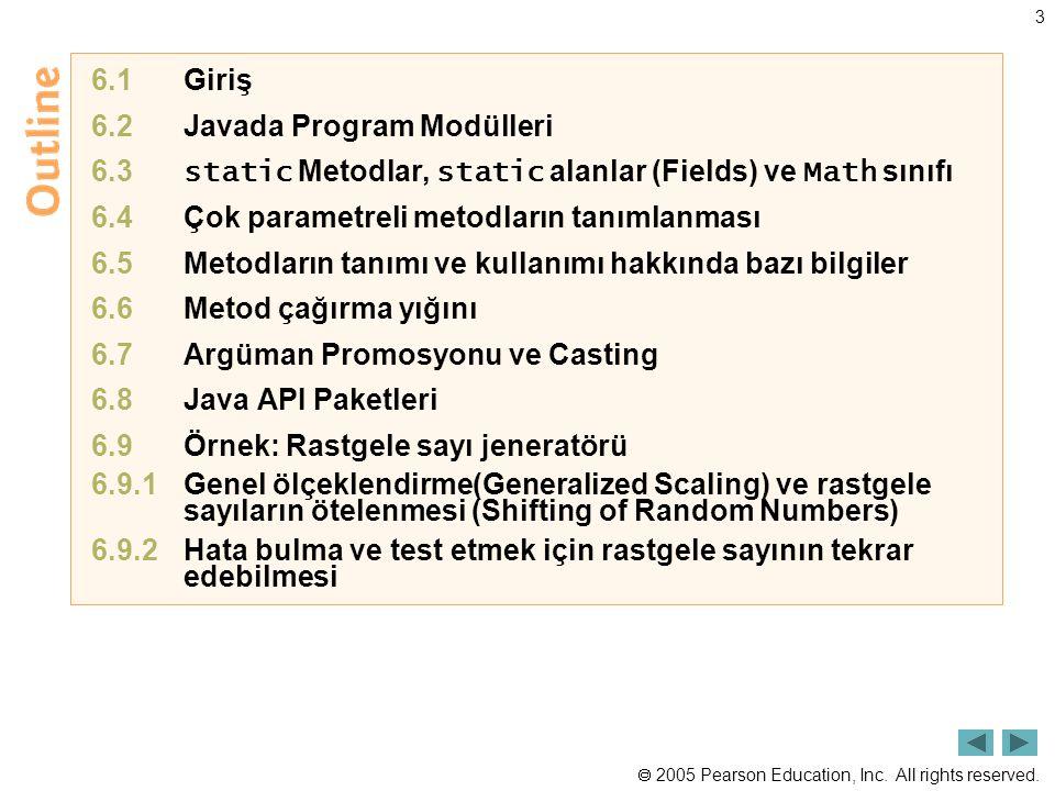 6.1 Giriş 6.2 Javada Program Modülleri. 6.3 static Metodlar, static alanlar (Fields) ve Math sınıfı.