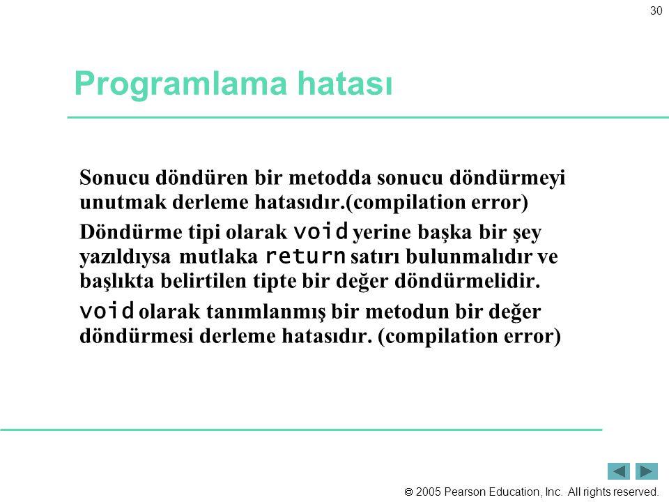 Programlama hatası Sonucu döndüren bir metodda sonucu döndürmeyi unutmak derleme hatasıdır.(compilation error)