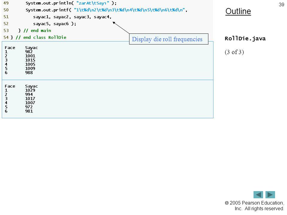 Outline Display die roll frequencies RollDie.java (3 of 3)