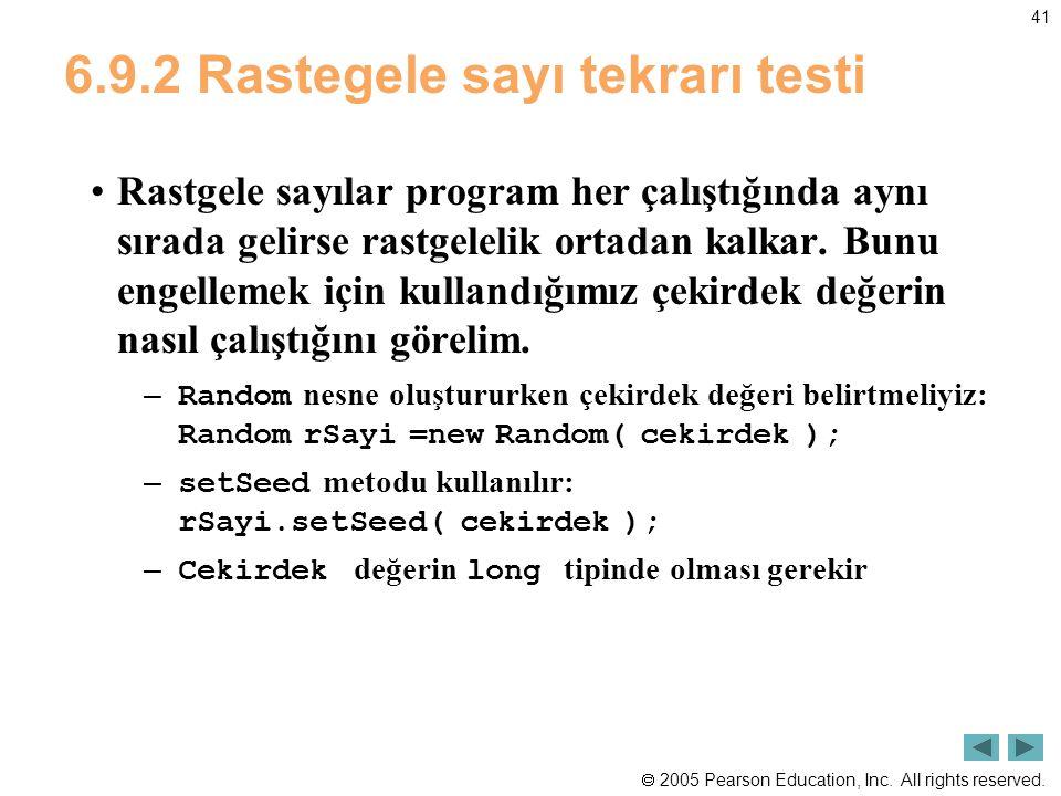 6.9.2 Rastegele sayı tekrarı testi