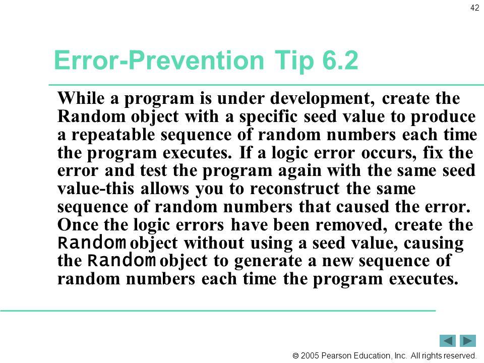 Error-Prevention Tip 6.2
