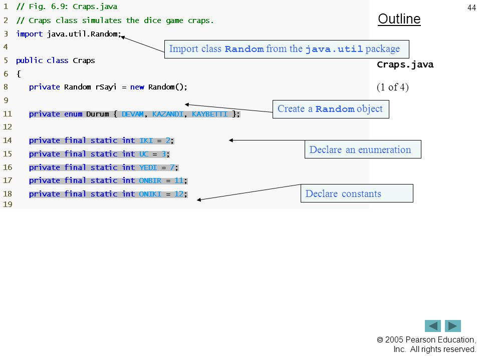 Outline Import class Random from the java.util package (1 of 4)