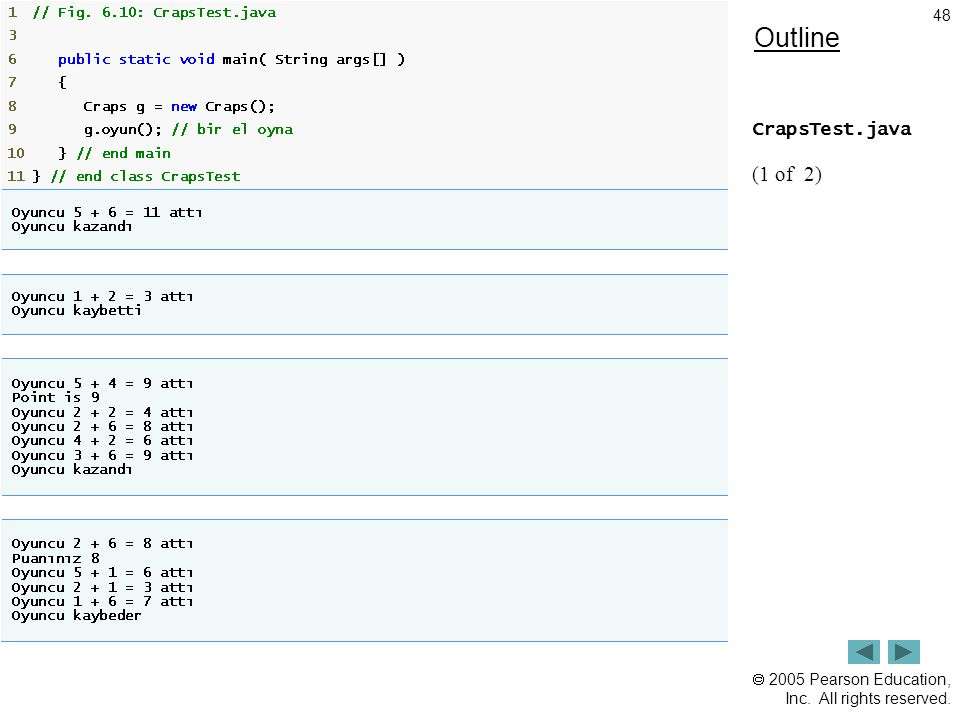 Outline CrapsTest.java (1 of 2)