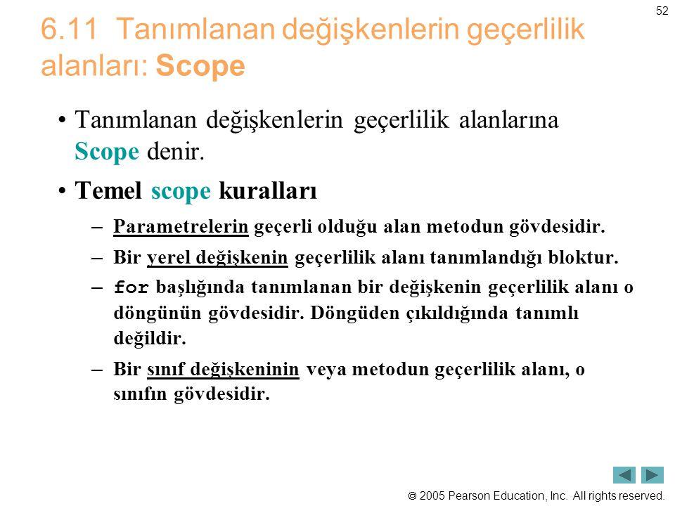 6.11 Tanımlanan değişkenlerin geçerlilik alanları: Scope
