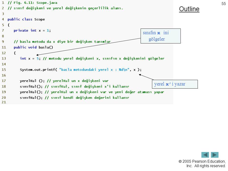 Outline sınıfın x ini gölgeler yerel x'i yazar