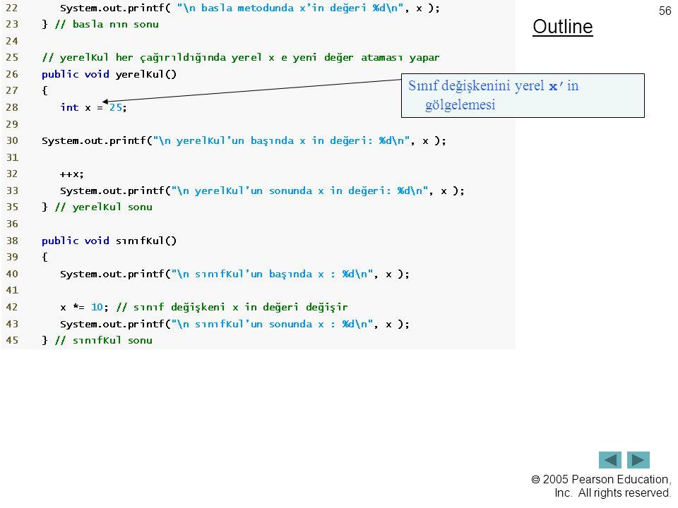 Outline Sınıf değişkenini yerel x'in gölgelemesi