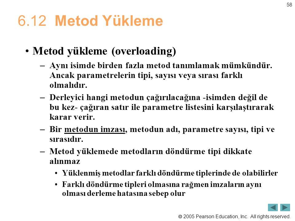 6.12 Metod Yükleme Metod yükleme (overloading)