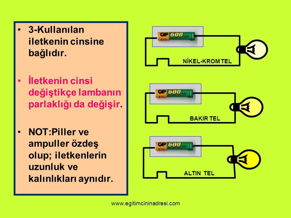 3-Kullanılan iletkenin cinsine bağlıdır.