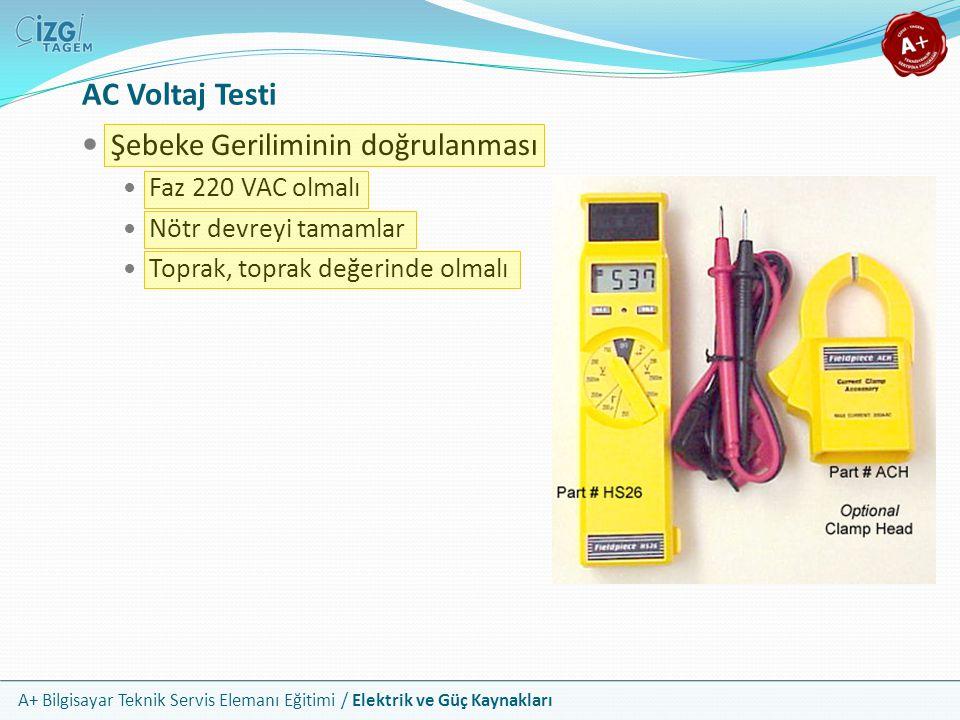 AC Voltaj Testi Şebeke Geriliminin doğrulanması Faz 220 VAC olmalı