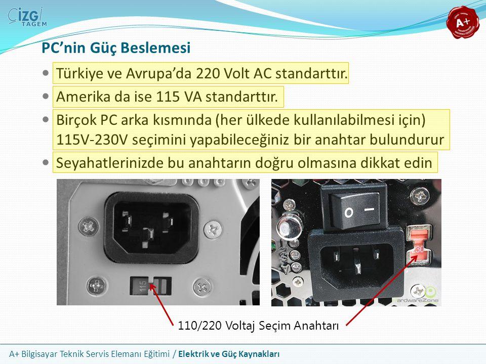 PC'nin Güç Beslemesi Türkiye ve Avrupa'da 220 Volt AC standarttır.