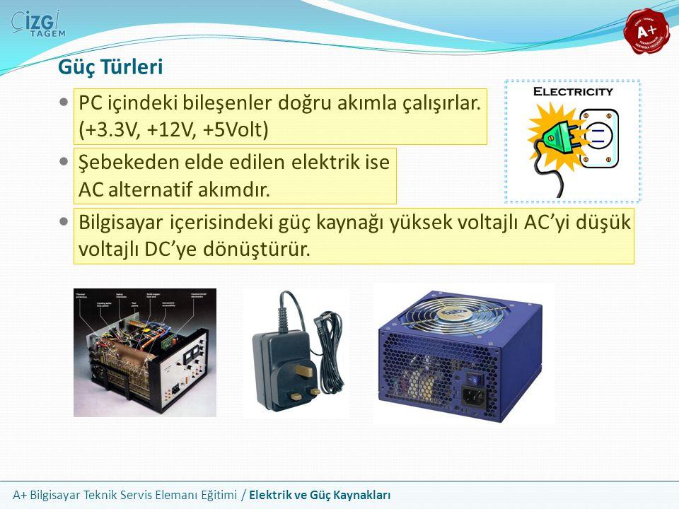 Güç Türleri PC içindeki bileşenler doğru akımla çalışırlar. (+3.3V, +12V, +5Volt) Şebekeden elde edilen elektrik ise AC alternatif akımdır.