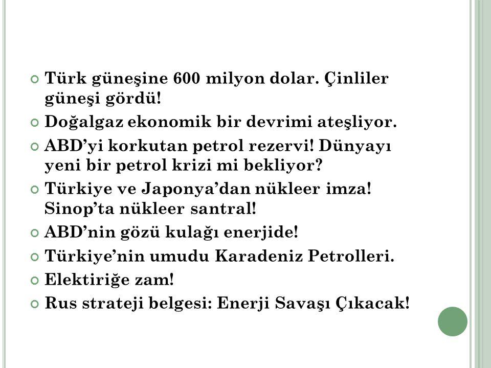 Türk güneşine 600 milyon dolar. Çinliler güneşi gördü!