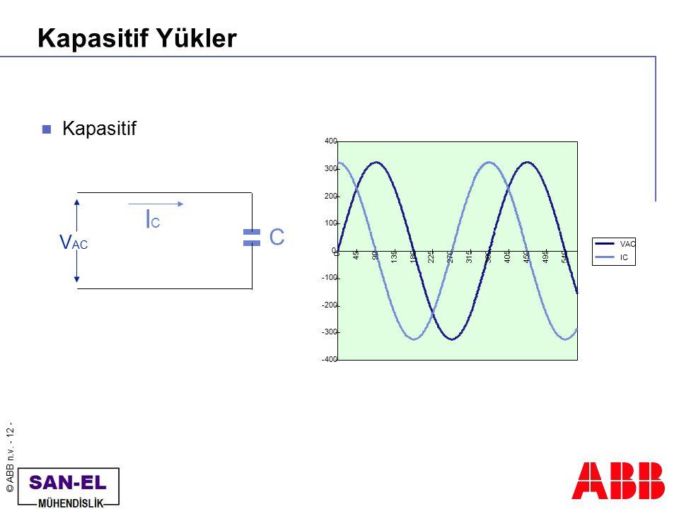 Kapasitif Yükler IC C Kapasitif VAC 400 300 200 100 VAC 45 90 135 180