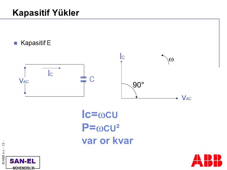 Ic=CU P=CU² var or kvar Kapasitif Yükler IC IC  C 90° Kapasitif E