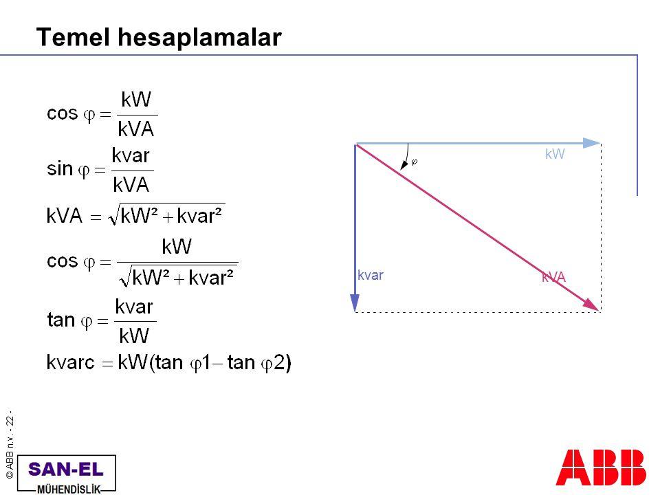 Temel hesaplamalar kvar j kW kVA