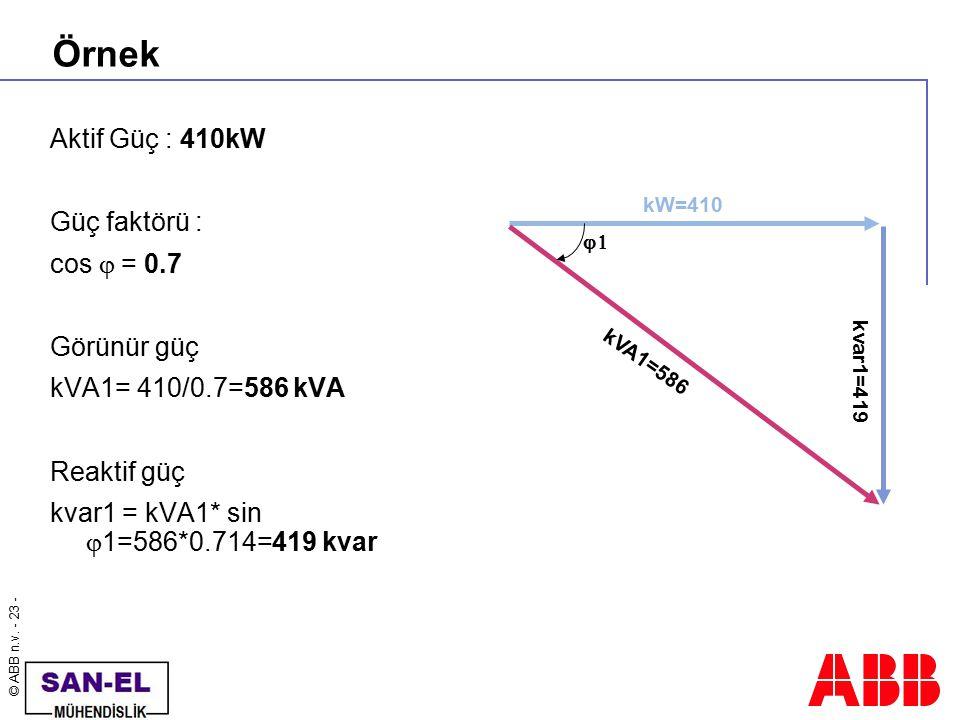 Örnek Aktif Güç : 410kW Güç faktörü : cos j = 0.7 Görünür güç