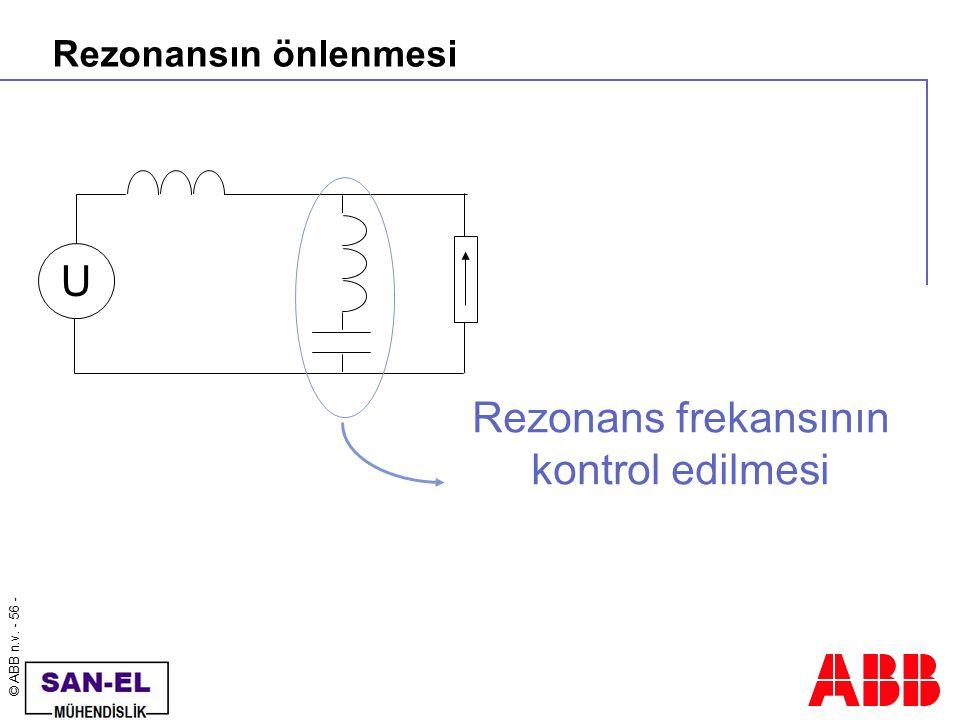 Rezonansın önlenmesi U Rezonans frekansının kontrol edilmesi
