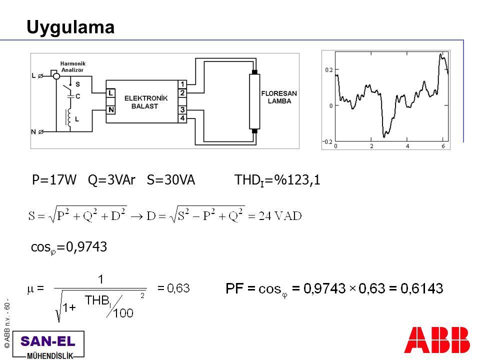 Uygulama P=17W Q=3VAr S=30VA THDI=%123,1 cos=0,9743