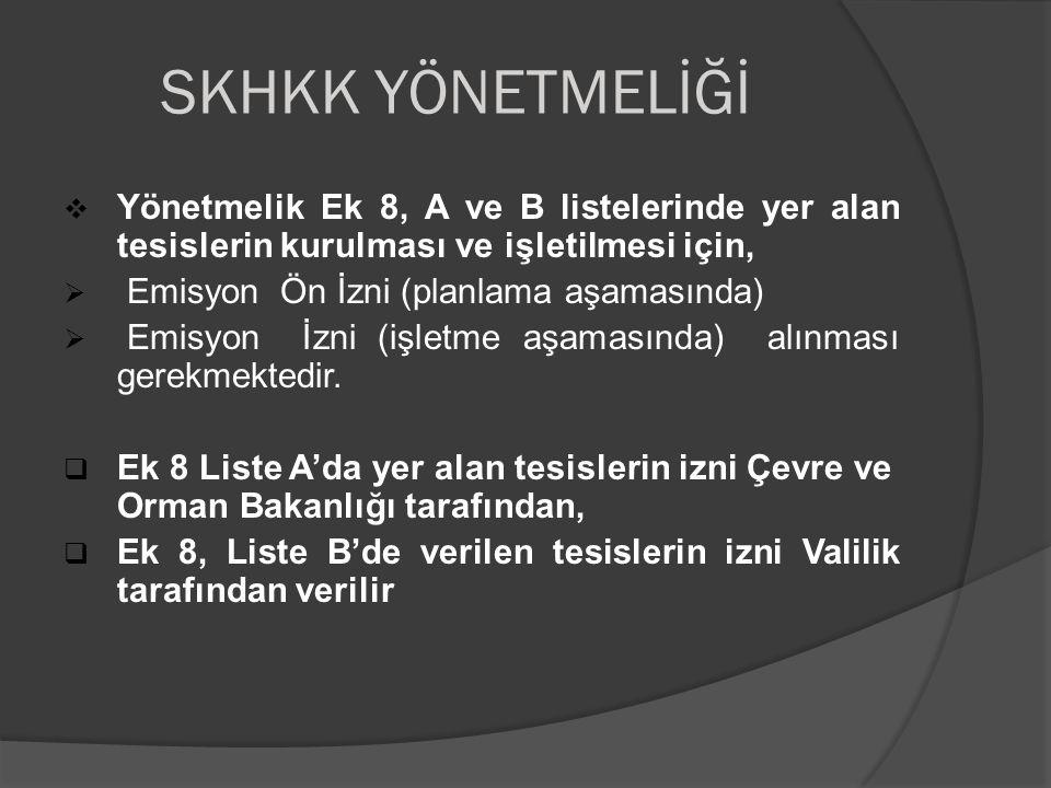 SKHKK YÖNETMELİĞİ Yönetmelik Ek 8, A ve B listelerinde yer alan tesislerin kurulması ve işletilmesi için,