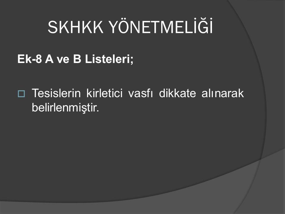 SKHKK YÖNETMELİĞİ Ek-8 A ve B Listeleri;
