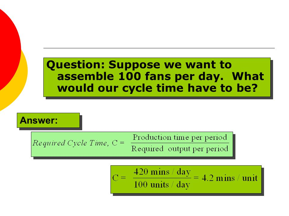 Question: Suppose we want to assemble 100 fans per day